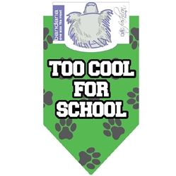 Dog Bandana Too Cool For School Green by Dog Fashion Living  (2 PACK)