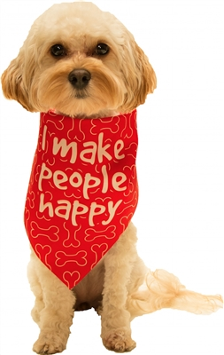 Dog Bandana I Make People Happy Red by Dog Fashion Living (2 PACK)