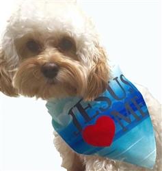 Dog Bandana Jesus Loves Me by Dog Fashion Living (2 PACK)