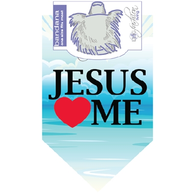 Dog Bandana Jesus Loves Me by Dog Fashion Living (2 PACK)