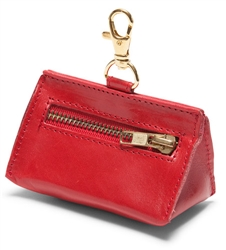 Red Leather Prism Baggie Pouch