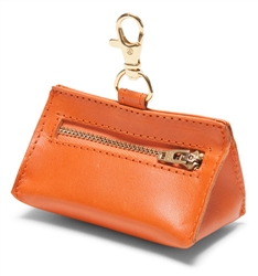 Orange Leather Prism Baggie Pouch