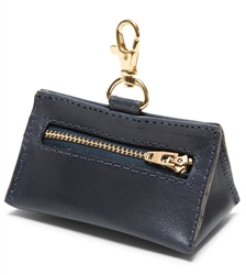 Navy Leather Prism Baggie Pouch
