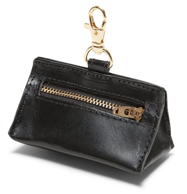 Black Leather Prism Baggie Pouch