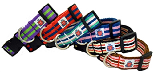The Henley Collection Blue & Green Henley Stripe Collars and Leashes by Huxley & Kent