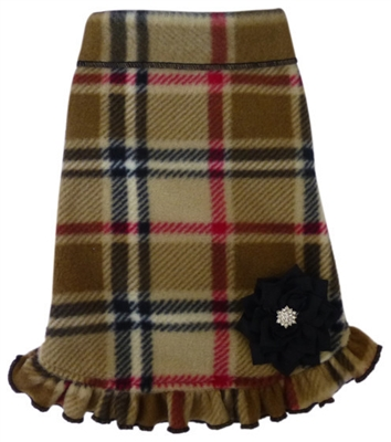 Camel Plaid w/Flower & Ruffle - Fleece Dress - Camel