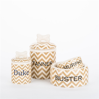 Personalized Chevron Bowls and Treat Jars Collection*
