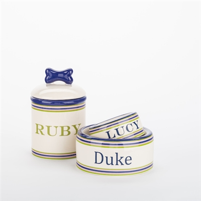 Personalized Preppy Stripe Bowls & Treat Jars Collection*