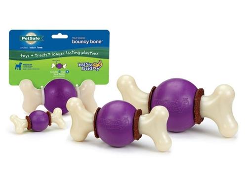 Busy Buddy® Bouncy Bone™  Chew Toy w/ Gnawhide® Treats