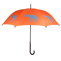 Elephant Umbrella Gray on Persimmon Orange