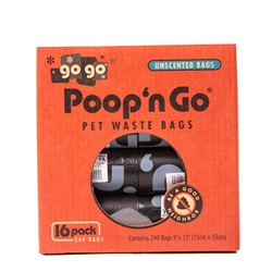 Poop 'n Go® Pet Waste Bags (Box) - 16 pack Unscented Refill Rolls, by GoGo®