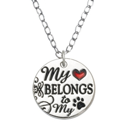 "My Heart Belongs  Pendant on 20"" Curb Chain"