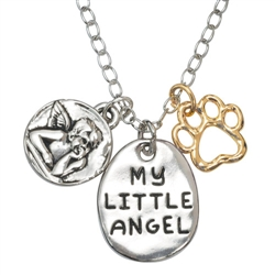 "My Little Angel/Paw Pendant on 20"" Curb Chain"