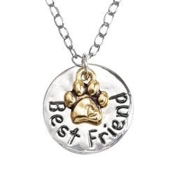"2-Tone Best Friend/Paw Pendant on 20"" Curb Chain"
