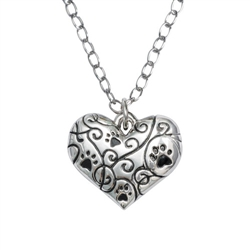 "Heart/Swirls/Best Friend Pendant on 20"" Curb Chain"