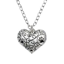 "Heart/Swirls/Best Friend Pendant on 20"" Curb Chain"