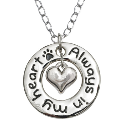 """Always In My Hrt/Hoop Pendant on 20"""" Curb Chain"""