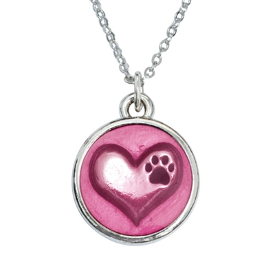 "In My Heart/Pink Heart Pendant on 18"" Curb Chain"