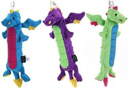 GoDog Skinny Dragons Chew Guard Squeaky Plush Dog Toy