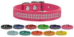 Two Row Clear Jeweled Leather Collar