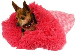 Pink Rosebud With Hot Pink Shag Cuddle Pouch -