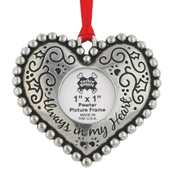 Pewter Holiday Photo Ornament - Always In My Heart