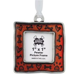Pewter Holiday Ornament - Bone / Heart / Paw Picture Frame