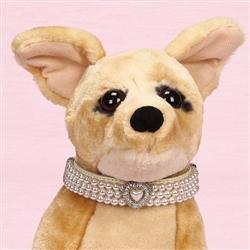 Triple Strand Pearl Choker Collar with Ritzy Rhinstone Heart