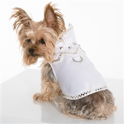 Doghouse Rock White Satin Vest Harness