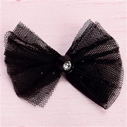 Glitter Black Net Hair Bow