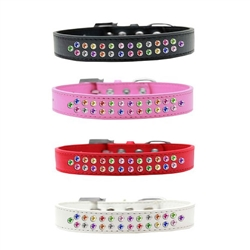 Two Row Confetti Crystal Dog Collar