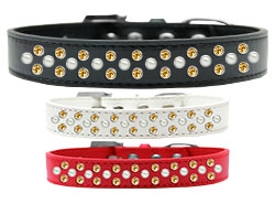 Sprinkles Pearl and Yellow Crystals Dog Collar