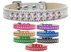 Sprinkles Ice Cream Pearl and Bright Pink Crystals Dog Collar