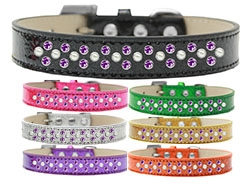 Sprinkles Ice Cream Pearl and Purple Crystals Dog Collar
