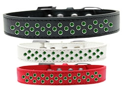 Sprinkles Emerald Green Crystals Dog Collar