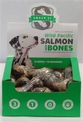 Salmon Skin Bones (18 bones/box) by Snack 21