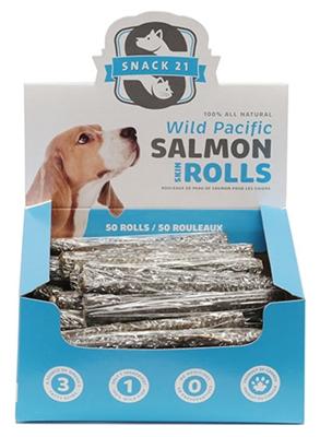 Salmon Skin Rolls (50 rolls/box) by Snack 21