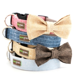 Bow Tie Linen Dog Collar