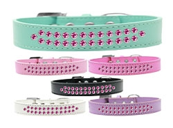 Two Row Bright Pink Crystal Dog Collar