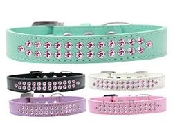 Two Row Light Pink Crystal Dog Collar