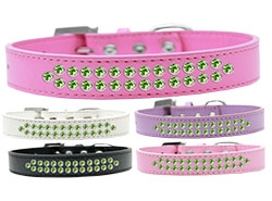 Two Row Lime Green Crystal Dog Collar