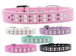 Two Row Pearl and Pink Crystal Dog Collar