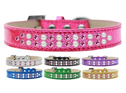 Two Row Pearl and Pink Crystal Ice Cream Dog Collar