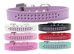 Two Row Purple Crystal Dog Collar