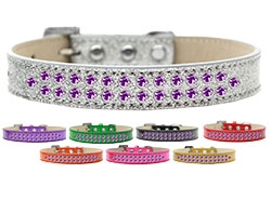 Two Row Purple Crystal Ice Cream Dog Collar