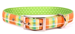 Uptown Madras Orange on Green Polka Collection
