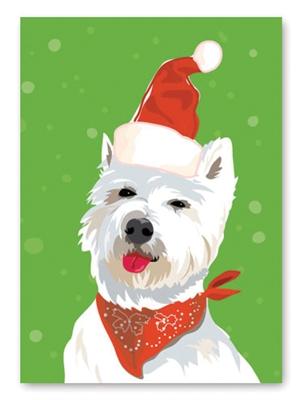 Westie Santa Hat Holiday Card