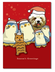 Dog, Cat, and Penguins Holiday Card