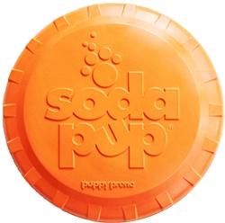 SodaPup - Natural Rubber Bottle Top Flyer - Dog Flying Disc - Fetch Toy - Orange - Large - Made in USA