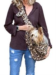 Adjustable Furbaby Sling Bag, Leopard Sand